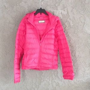 A pink puffy jacket from Abercrombie and Fitch
